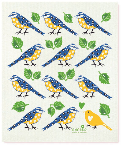 Blue & Yellow - Blue Chickadee Dishcloth
