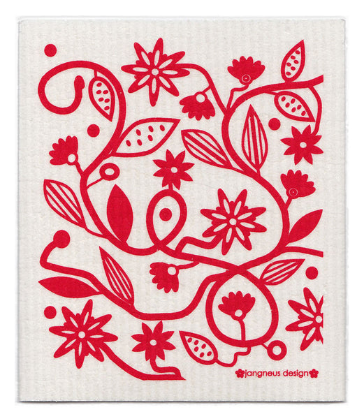 Red - Doodle Flower Dishcloth