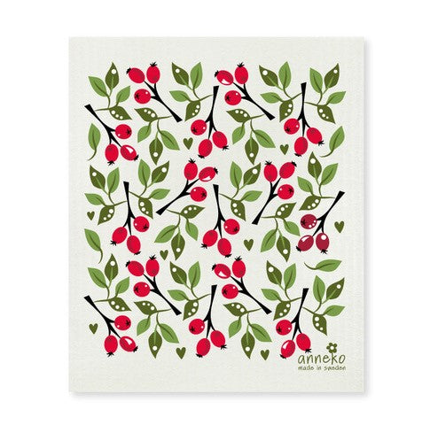 Red & Green  - Rose hips Dishcloth