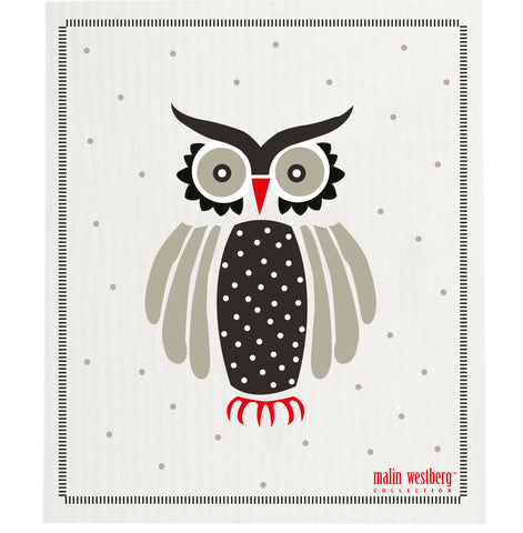Grey & Black & Red - Owl Dishcloth