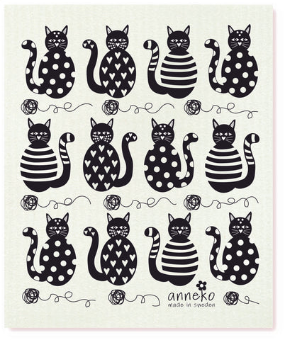 Black - Anneko Cats Dishcloth