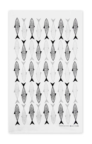 Black & Grey - Fish Tea Towel