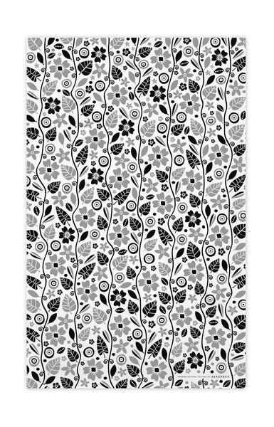 Black & Grey - Garden Tea Towel