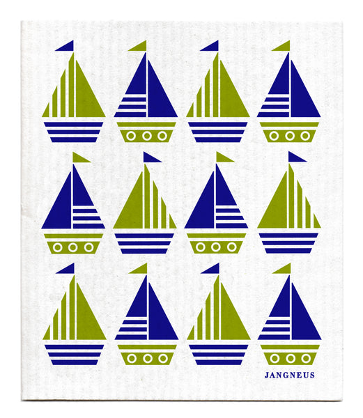 Blue & Green - Boats Dishcloth
