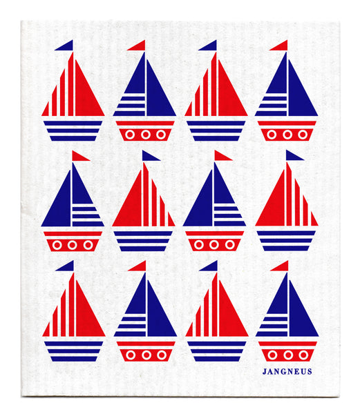 Blue & Red -  Boats Dishcloth