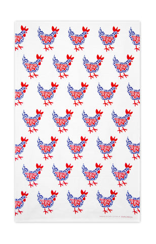 Blue & Red - Hens Tea Towel