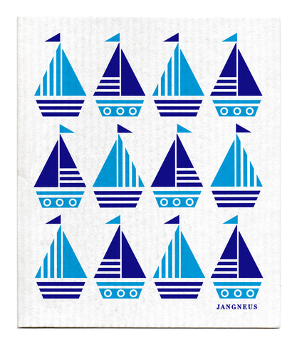 Blue & Turquoise - Boats Dishcloth