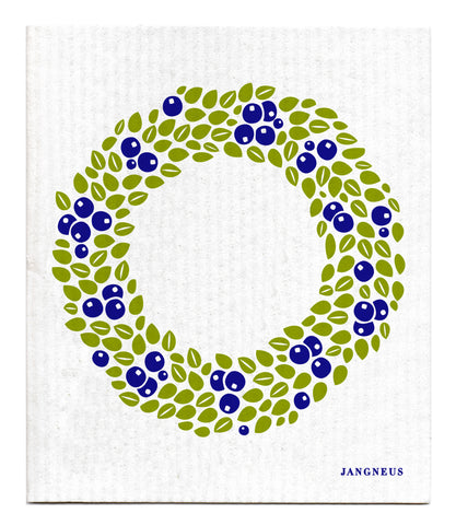 Christmas - Blue Wreath Dishcloth