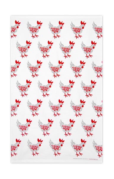 Red & Grey - Hens Tea Towel