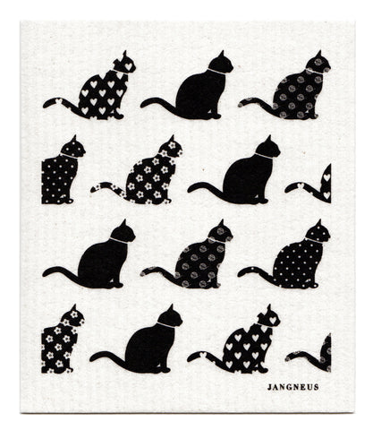 Black - Cats Dishcloth