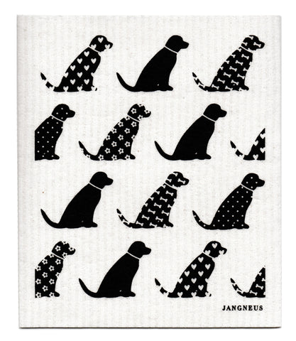 Black - Dogs Dishcloth