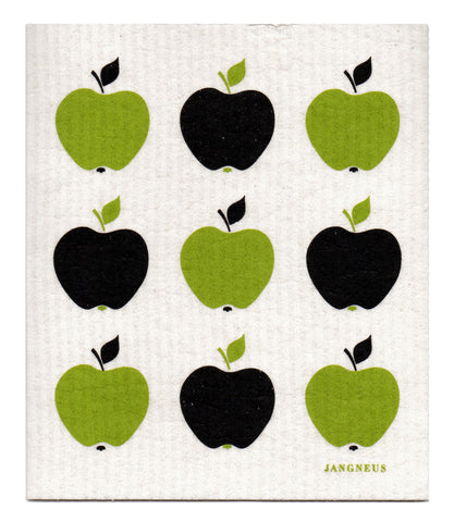 Green & Black - Small Apples Dishcloth