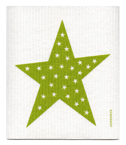 Green - Stars Dishcloth