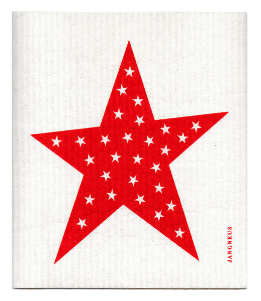 Red - Stars Dishcloth