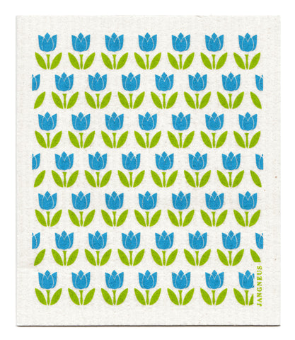 Turquoise - Small Tulips Dishcloth