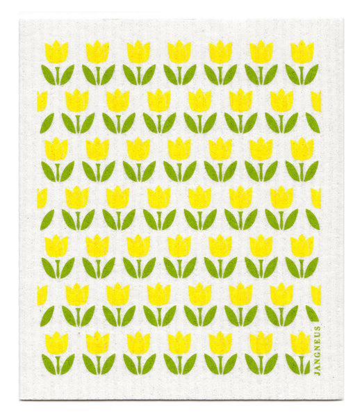 Yellow - Small Tulips Dishcloth