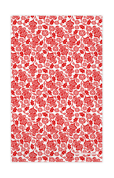 Red - Oak Leaf Tea Towel