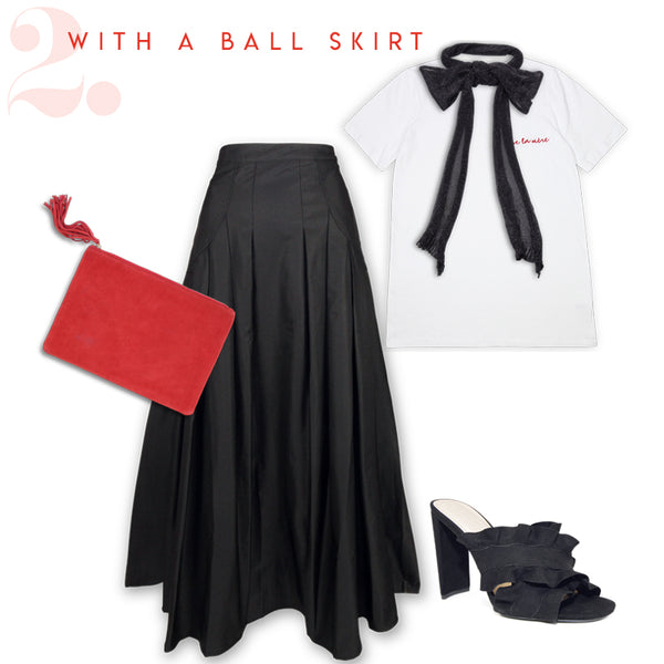 how to wear mother's day tee with ball skirt