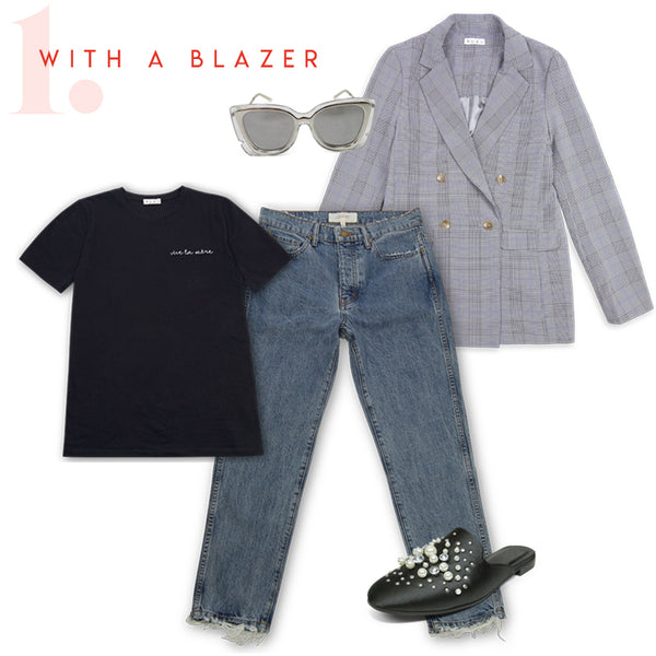 how to wear mothers day tee with blazer