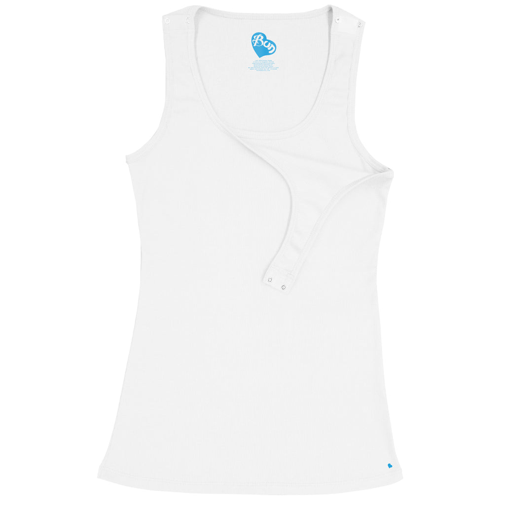 Shoulder Snap Nursing Tank - White