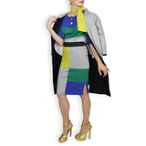 Color Block Pencil Skirt - Blue Twill & Kelly Green