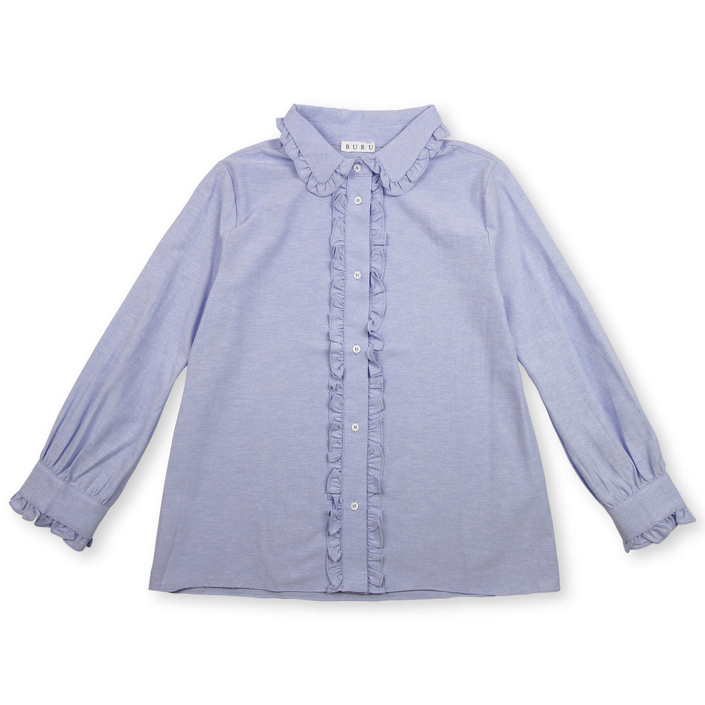 Fayette Frilly Button Down - French Blue