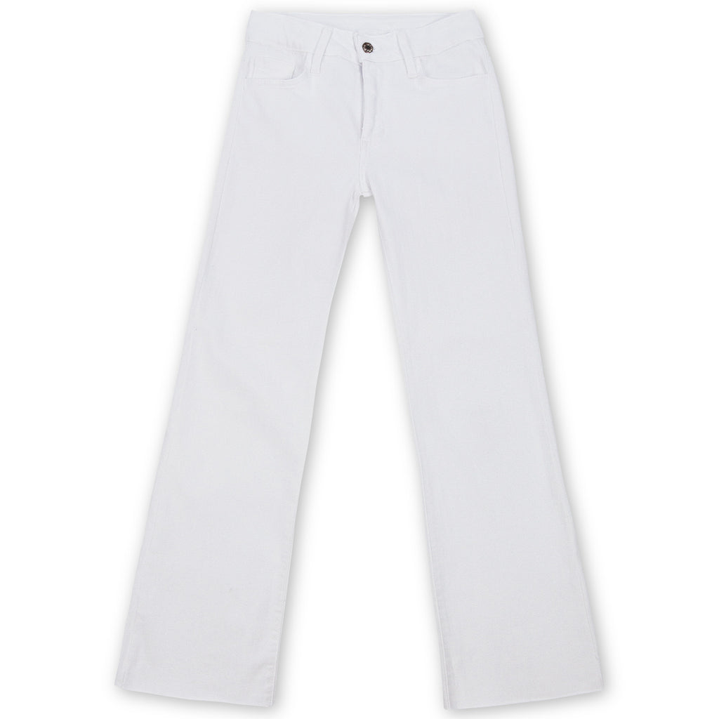 Romi Raw Edge Cropped Flare Jeans - White