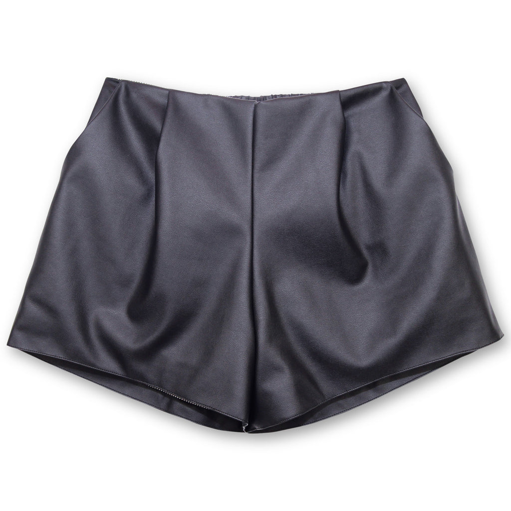 The Pleated Short - Black Vegan Leather