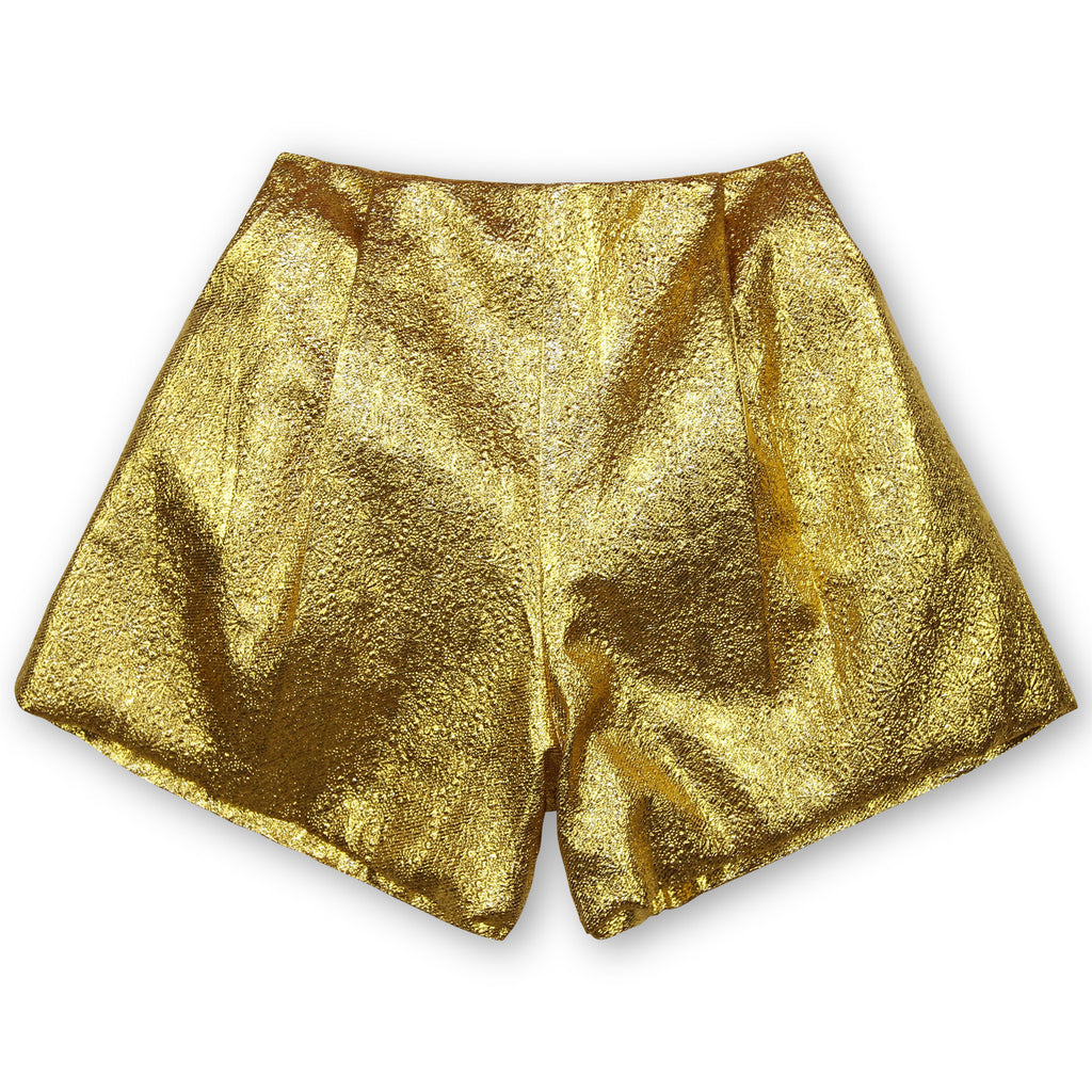 The Pleated Short - Gold Lamé