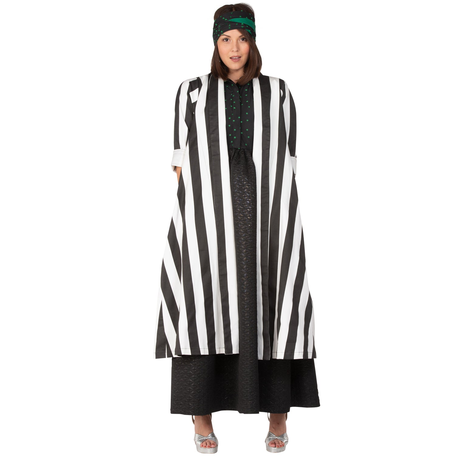 9a50ff42d93de Swing Coat - Black & White Cotton Stripe – BURU