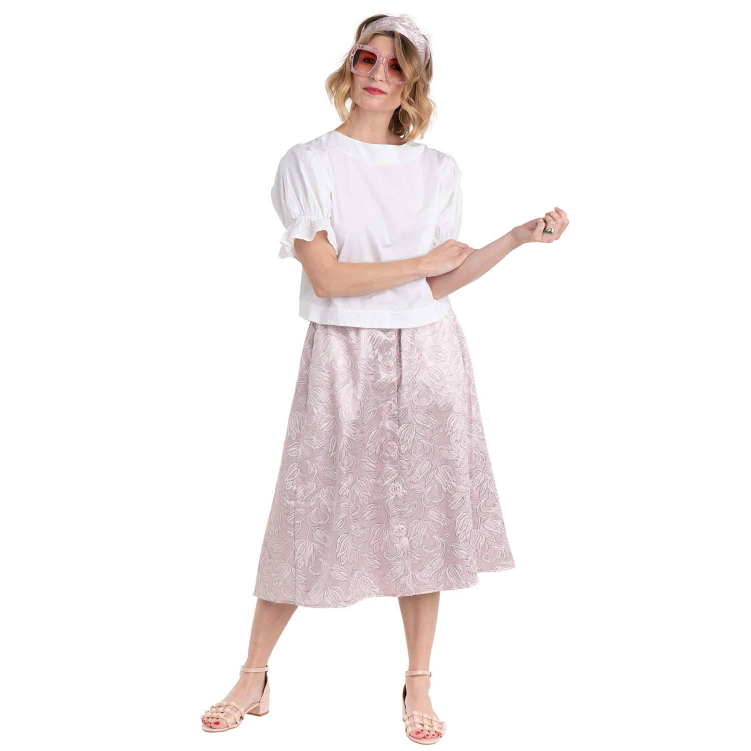 8a52dba6f2e347 ... black tie top tank and samson jeans. paradise puff sleeve top with  metallic pink brocade circle skirt