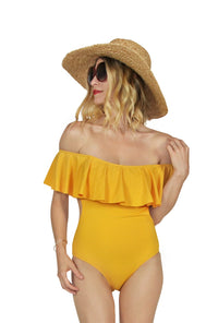 5fc432f71f296 Off The Shoulder Swimsuit - Yellow