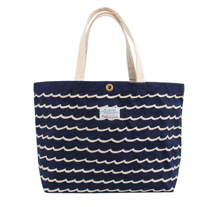 Wave Stripe Beach Bag (Navy)