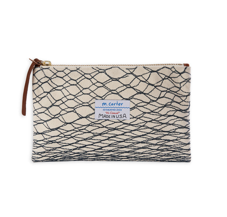 Canvas Clutch Net Print Natural