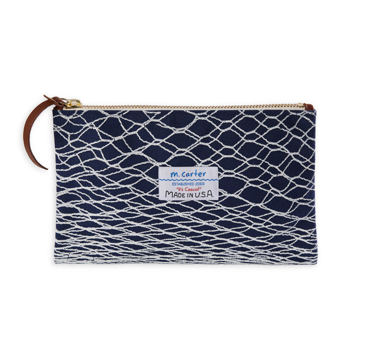 Canvas Clutch Net Print Navy