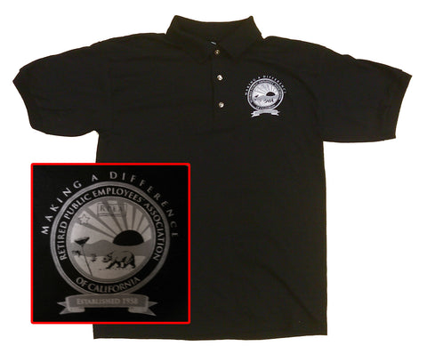 BLACK POLO SHIRT with White and Grey Logo