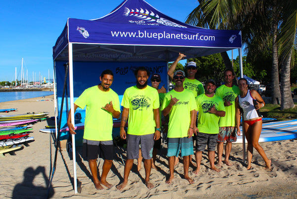 Blue Planet staff at SUP demo- try before you buy