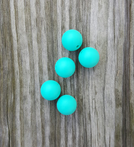 Turquoise 15mm Round Silicone Beads