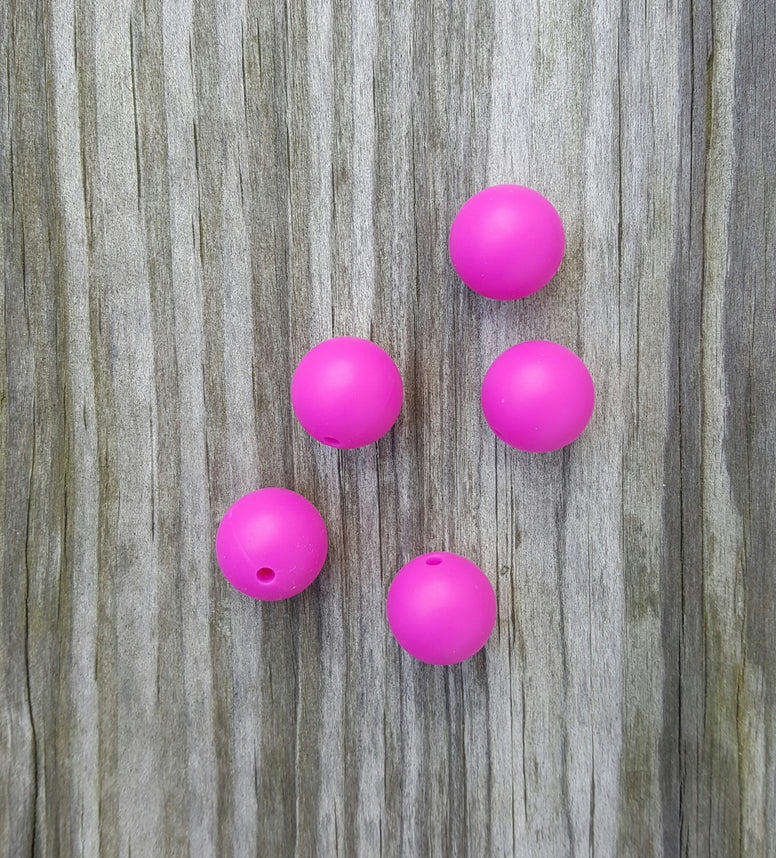 Violet 15mm Round Silicone Beads