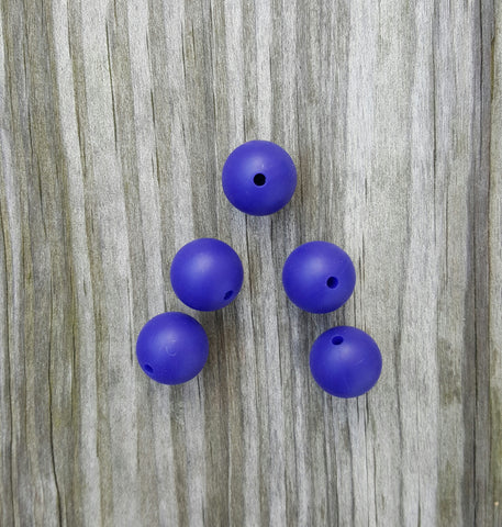 Navy 15mm Round Silicone Beads
