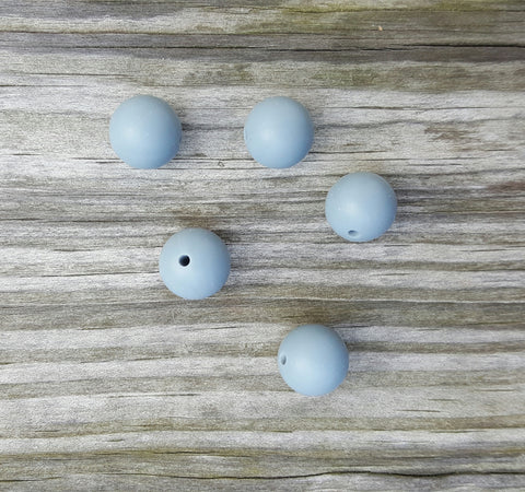 Gray 15mm Round Silicone Beads