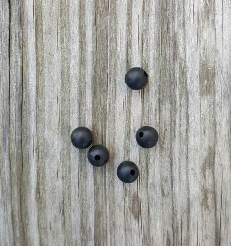 Black 9mm Round Silicone Beads