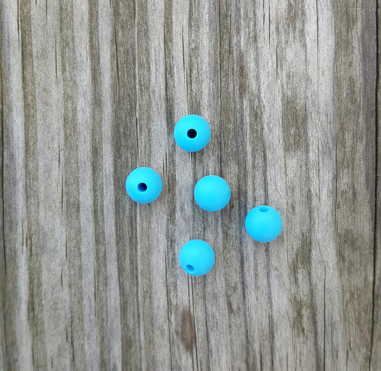 Blue 9mm Round Silicone Beads