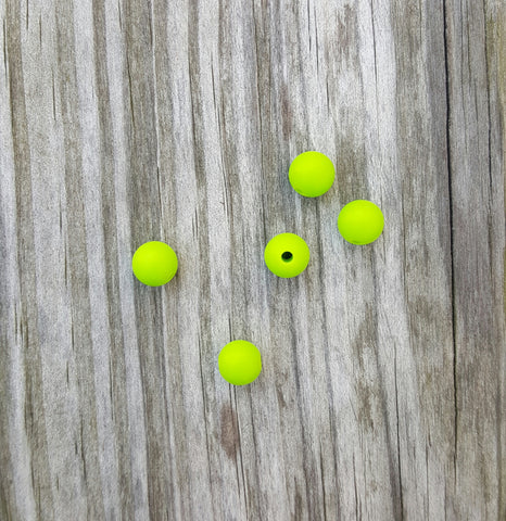 Green 9mm Round Silicone Beads