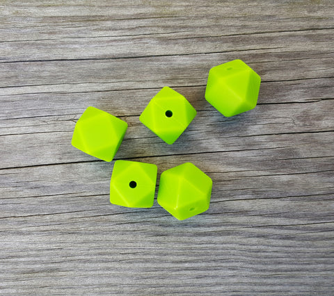 Green Silicone Hexagon Beads