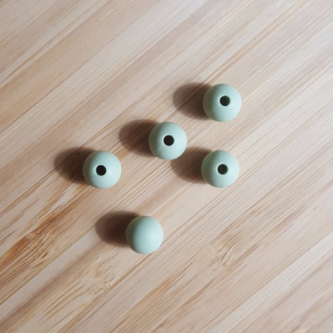 Lint Green 9mm Round Silicone Beads
