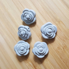 Gray Silicone Rose Flower Beads