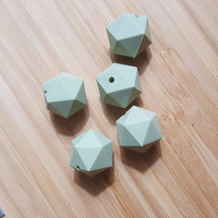 Lint Green Silicone Hexagon Beads