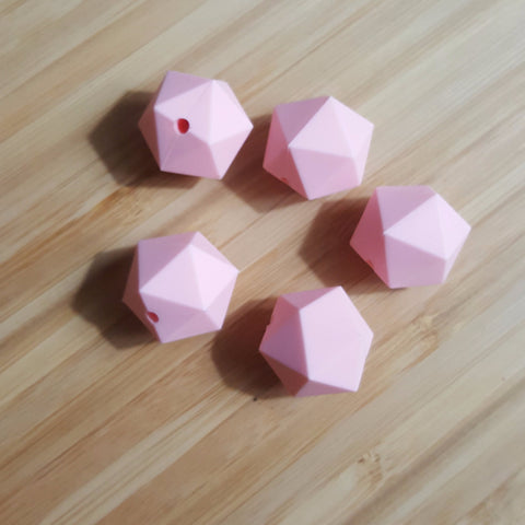Rose Quartz Silicone Hexagon Beads