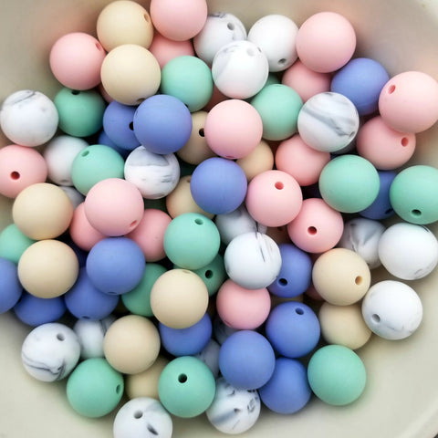 100 Mixed 15mm Round Silicone Beads